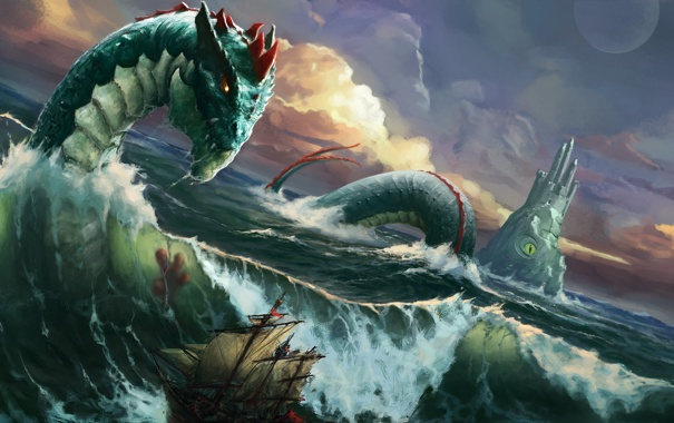 Фото обои море, волны, шторм, корабль, монстр, чудовище, морской змей