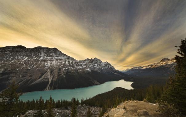 Фото обои лес, природа, озеро, гора, lake, canada, national park