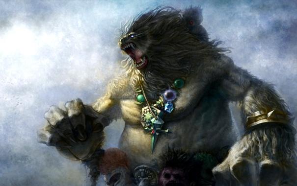 Фото обои украшения, медведь, арт, пасть, кулон, метель, шаман