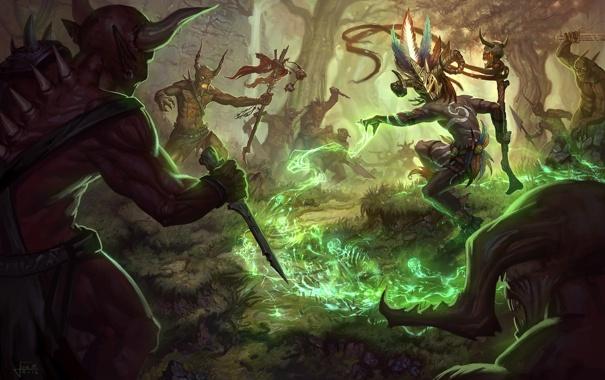 Фото обои лес, магия, арт, демоны, diablo 3, шаман, witch doctor
