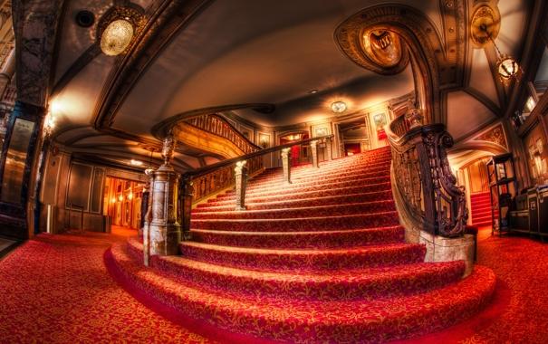 Фото обои свет, красное, Чикаго, красиво, лестница, поручни, Театр