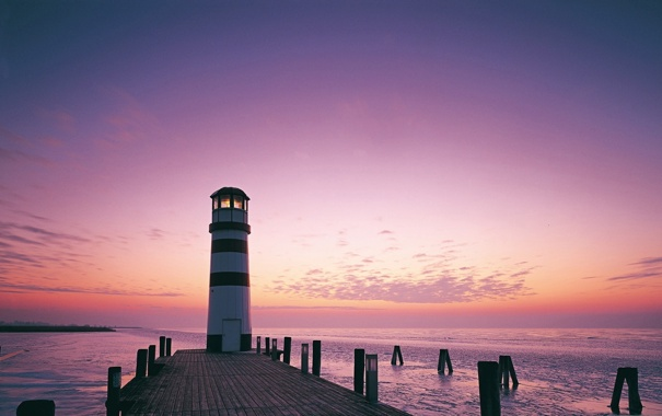 Фото обои море, небо, пейзаж, природа, побережье, маяк, вечер