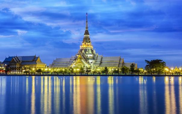 Фото обои вода, огни, храм, Тайланд, Thailand, набережная, Chachoengsao Province