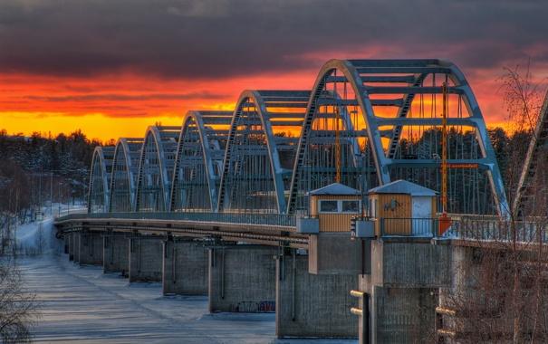 Фото обои пейзаж, закат, мост, река
