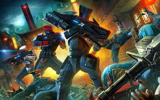 Фото обои город, оружие, люди, робот, форма, битва, военные
