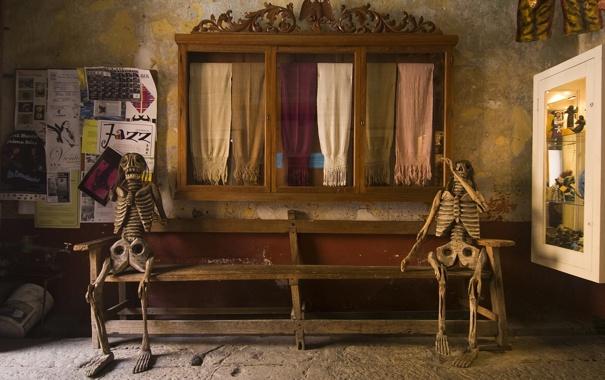 Фото обои рендеринг, лавка, скелеты