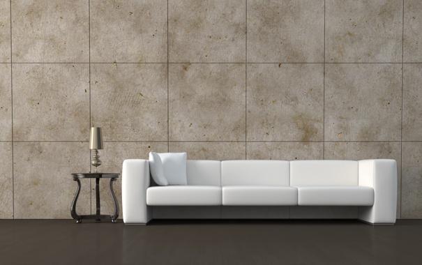 Фото обои диван, подушки, столик, ночник