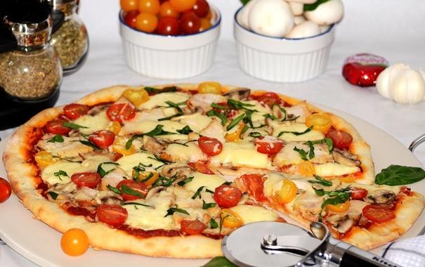Фото обои сыр, пицца, помидоры, начинка