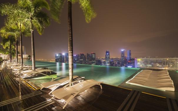 Фото обои крыша, ночь, огни, дома, бассейн, Сингапур, отель