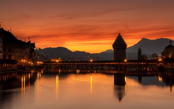 Фото обои небо, пейзаж, горы, мост, огни, река, дома