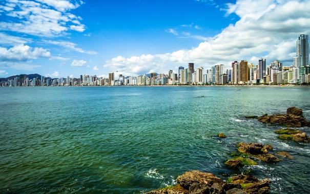 Фото обои море, пейзаж, побережье, дома, Бразилия, Santa Catarina