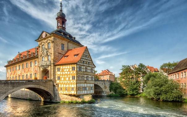 Фото обои деревья, мост, дом, река, Германия, Бамберг, фахверк