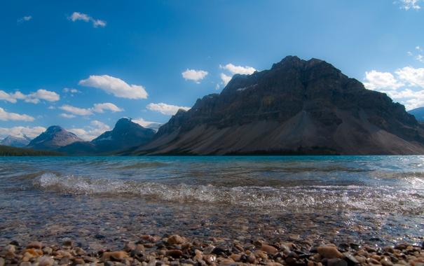 Фото обои небо, облака, горы, озеро, камни
