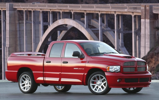 Фото обои машина, авто, красный, мост, додж, dodge, ram