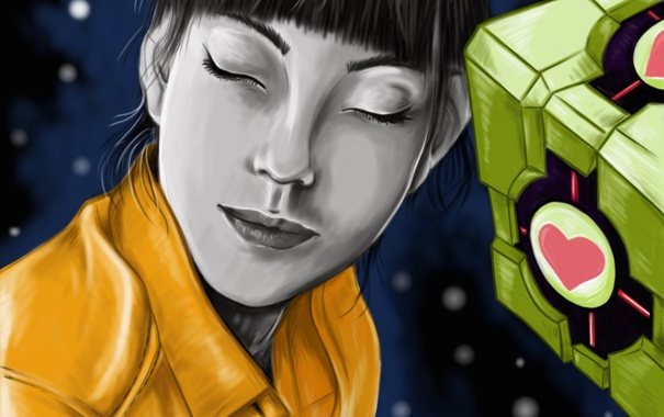 Фото обои девушка, космос, Portal, куб, Чел, фан арт, us (artist)