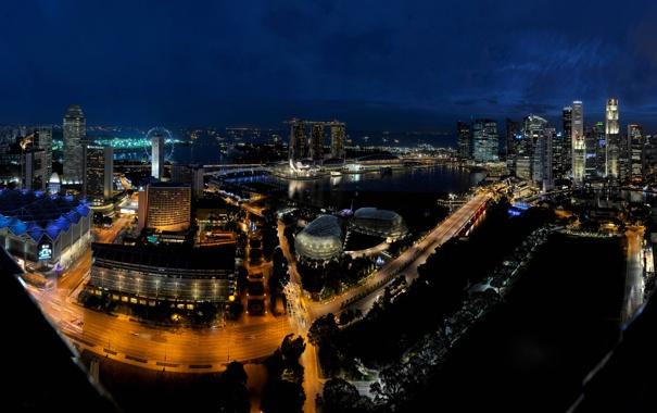 Фото обои ночь, огни, Сингапур, отель, Marina Bay