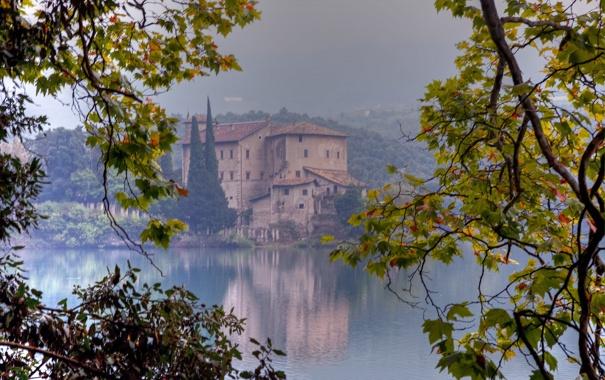 Фото обои лес, холм, ветви, дом, озеро, туман