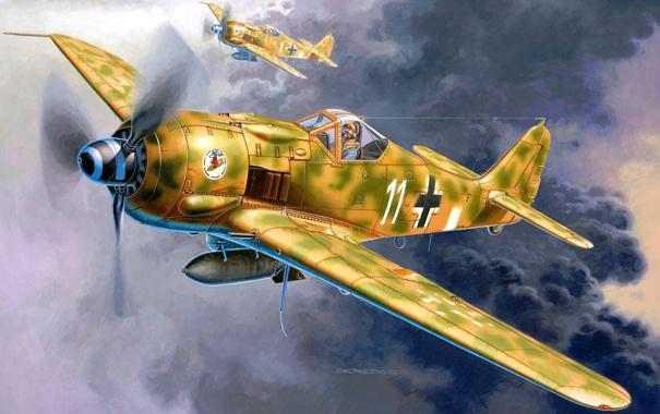 Фото обои небо, рисунок, арт, истребители, пара, самолёты, WW2