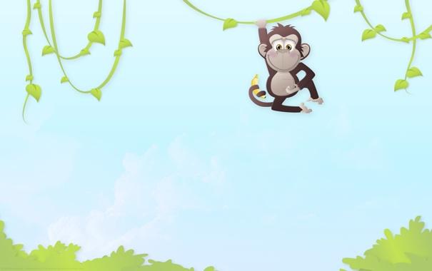 Фото обои животные, деревья, настроение, минимализм, джунгли, арт, обезьяна