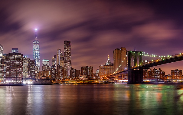 Фото обои Нью-Йорк, панорама, Бруклинский мост, ночной город, Манхэттен, Manhattan, New York City