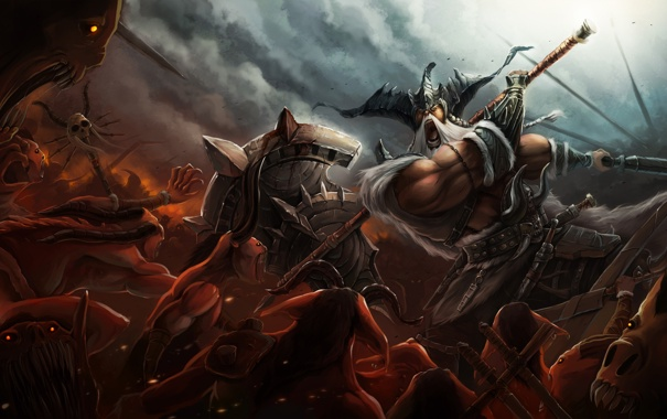 Фото обои оружие, воин, битва, нежить, Diablo III, варвар