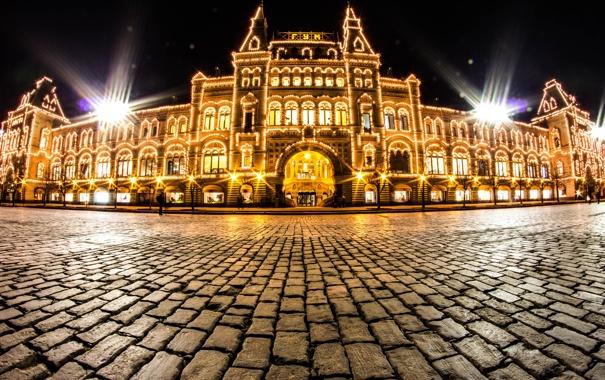 Фото обои город, огни, камень, здание, вечер, брусчатка, Москва