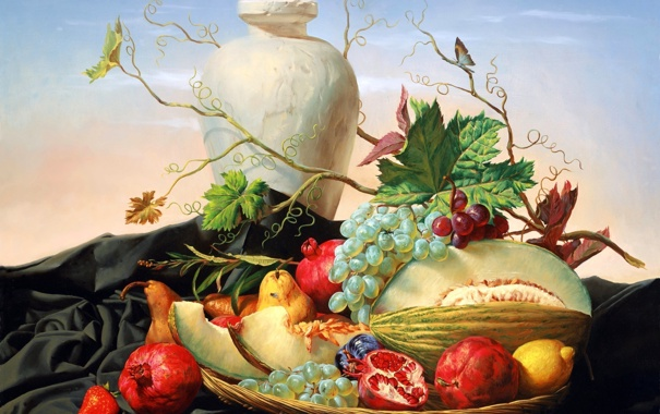 Фото обои виноград, ваза, груша, фрукты, натюрморт, живопись, гранат