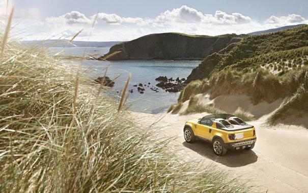 Фото обои море, Concept, трава, побережье, Land Rover, ленд ровер, DC100 Sport