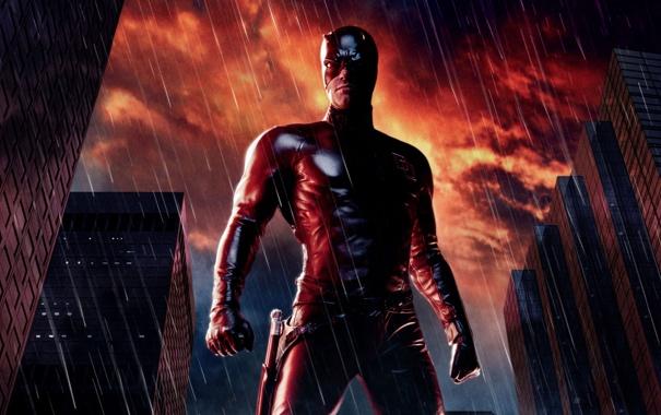 Фото обои ночь, город, фантастика, дождь, дома, маска, костюм