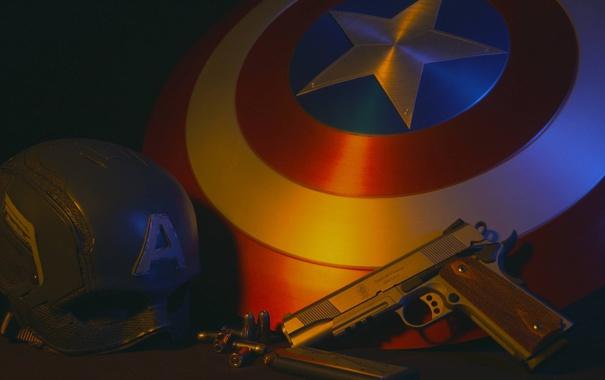 Фото обои шлем, щит, captain america, 1911, smith & wesson, полуавтоматический пистолет