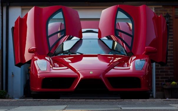 Фото обои red, ferrari, феррари, enzo, передок, гильотина, дверцы