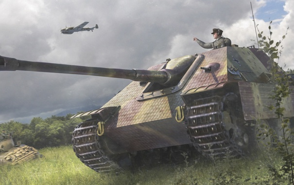 Фото обои поле, рисунок, арт, Jagdpanther, самоходно-артиллерийская установка, истребителей танков, (САУ)