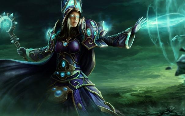 Фото обои девушка, тучи, магия, долина, посох, WoW, World of Warcraft