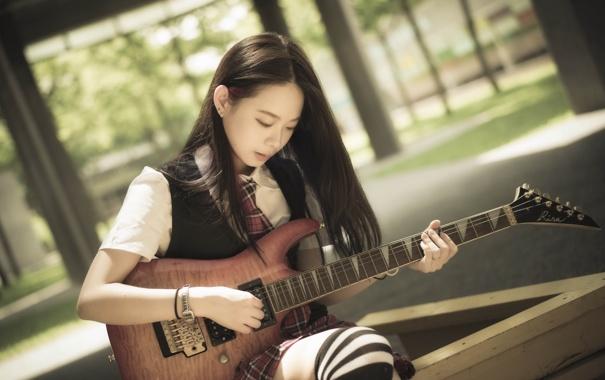 Фото обои девушка, музыка, гитара, азиатка