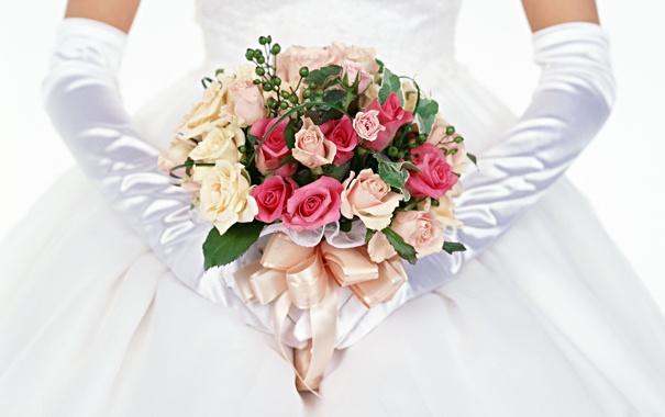 Фото обои розы, букет, перчатки, невеста