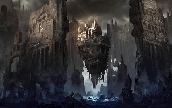 Фото обои обломки, туман, река, камни, замок, человек, арт