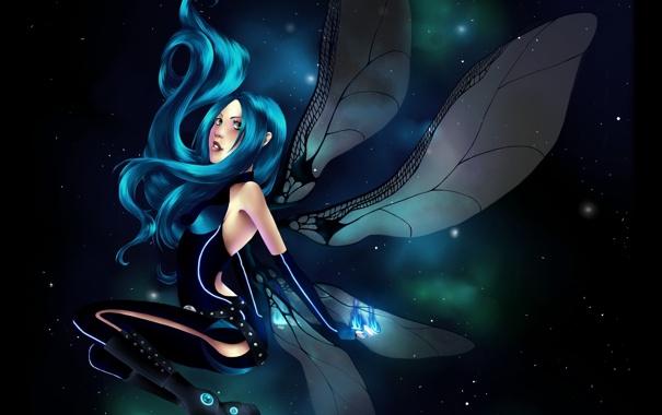 Фото обои девушка, звезды, туманность, крылья