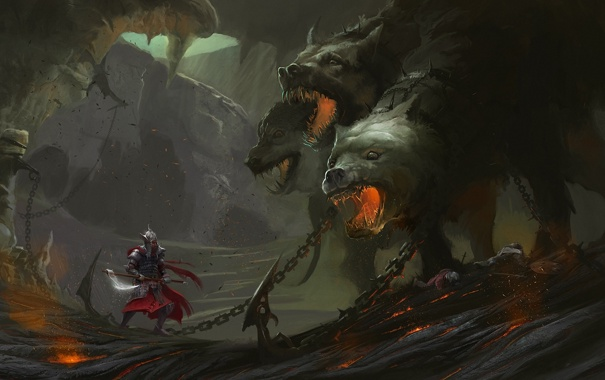 Фото обои оружие, монстр, собака, воин, арт, пещера, цепи
