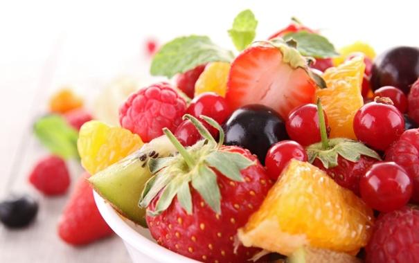 Фото обои ягоды, малина, фон, widescreen, обои, апельсин, еда