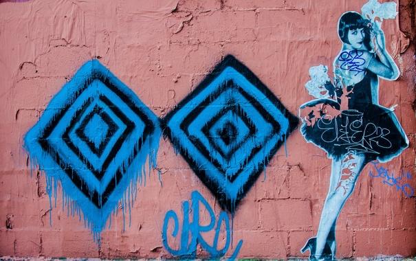 Фото обои город, стена, графити