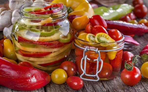 Фото обои банки, овощи, помидоры, паприка, заготовки, консервирование