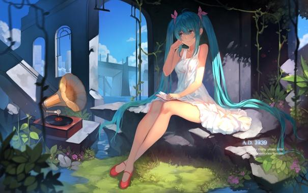 Фото обои небо, девушка, облака, аниме, арт, руины, vocaloid