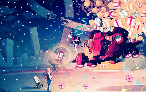 Фото обои девушка, облака, снег, ночь, робот, подарки, vocaloid