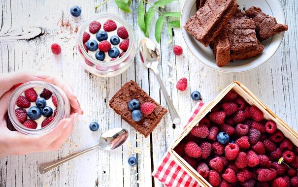 Фото обои ягоды, малина, черника, пирог, десерт