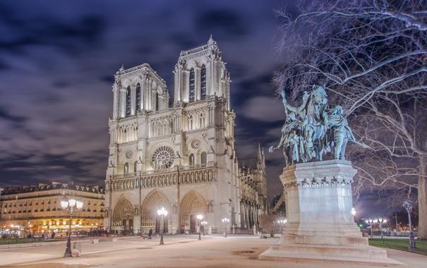 Фото обои площадь, дома, Париж, Франция, ночь, огни, Собор Парижской Богоматери