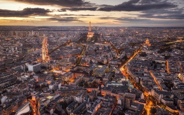 Фото обои небо, облака, закат, тучи, улица, башня, париж