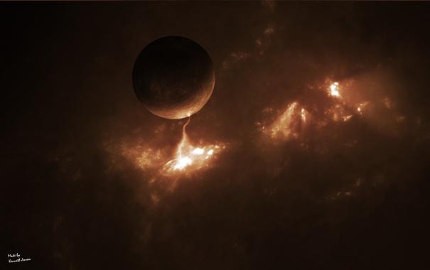 Фото обои космос, свет, туманность, планета
