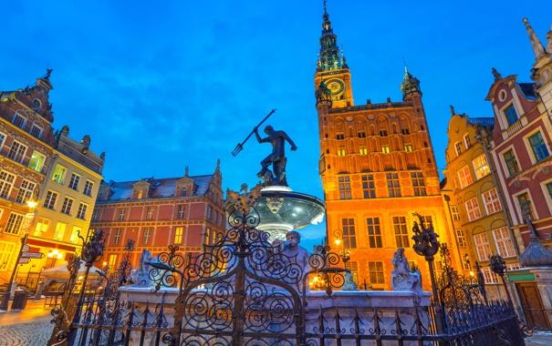 Фото обои здания, дома, ограда, Польша, фонтан, Гданьск