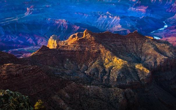 Фото обои закат, горы, река, каньон