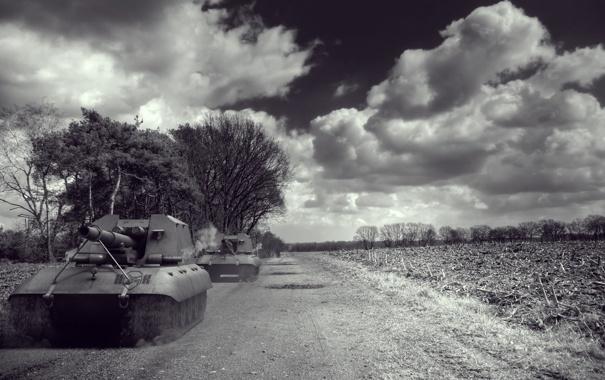 Фото обои облака, Германия, арт, танки, артиллерия, САУ, WoT